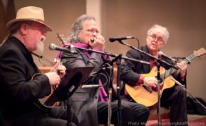 Orville Johnson, Grant Dermody, and John Miller play American blues at Duvall House Concerts on January 19, 2019.